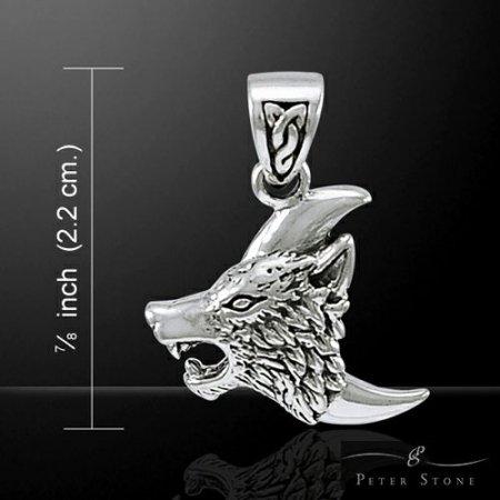 【PETER STONE】ネイティブアメリカン オオカミ(ウルフ) ムーン(三日月) スターリングシルバー ペンダントトップ|狼|インディアン|知能|リーダーシップ|シルバー925【メール便対…