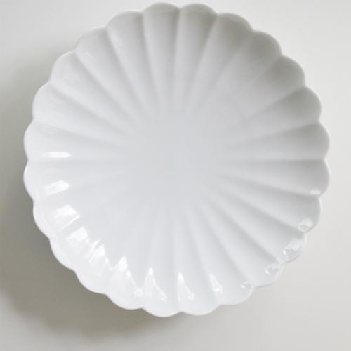 【有田焼】白磁/菊割皿