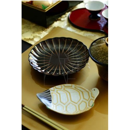 菊割皿14.5cm ブラウン