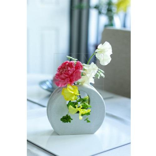 白釉 丸窓花器