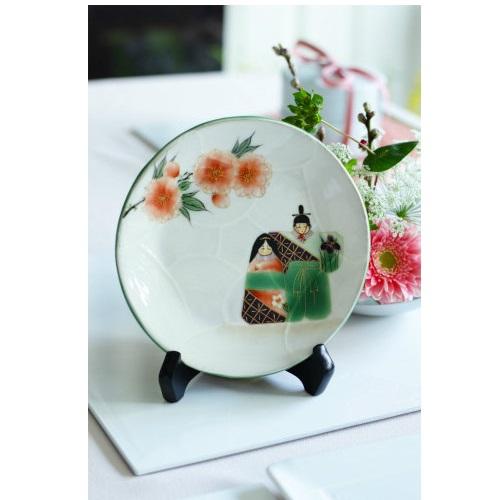 清水焼お雛さま飾り皿/皿立付