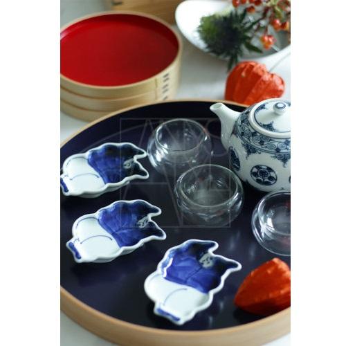 【有田焼】染付 唐子型小皿