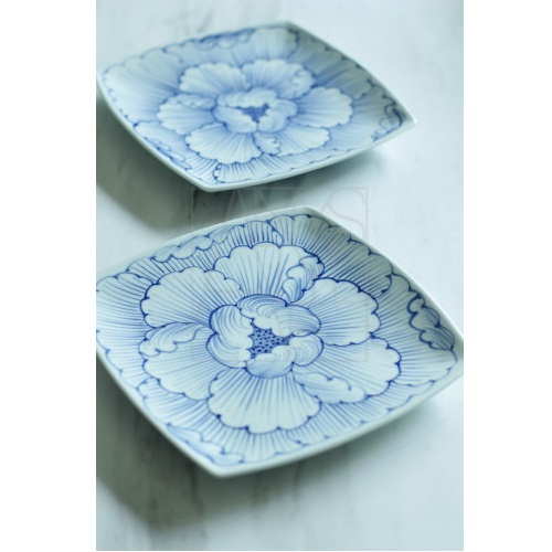 【三川内焼】牡丹 角大皿