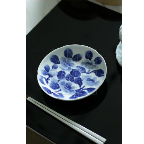 【三川内焼】墨はじき 椿 銘々皿