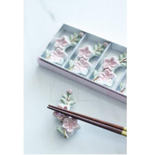 【清水焼】お箸置き5個セット/桃の花