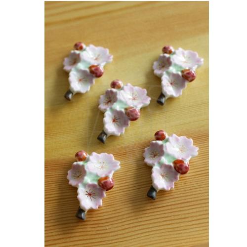 【清水焼】お箸置き5個セット/桜