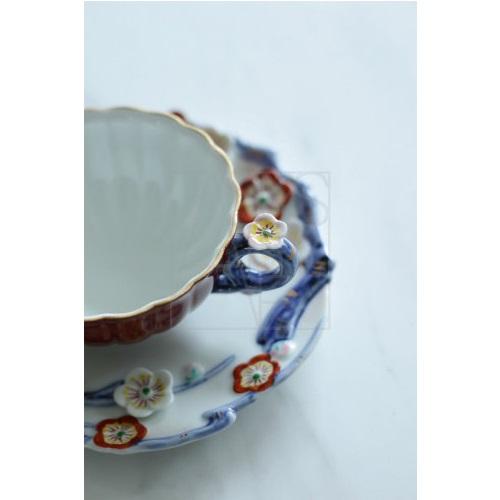 【有田焼】梅彫り装飾カップ&ソーサー