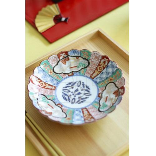 【有田焼】菊割錦三方 銘々皿