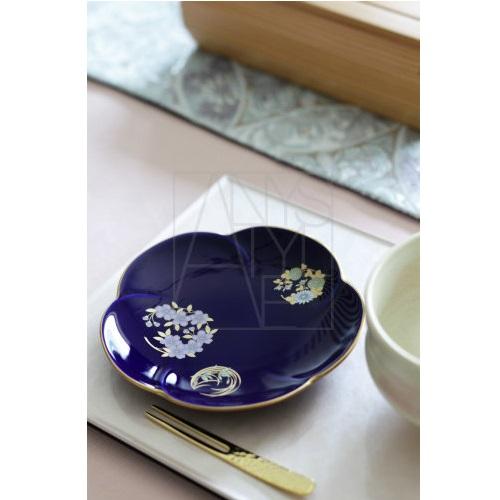 【有田焼】ルリ花紋 銘々皿