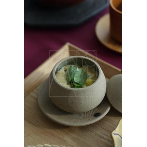 【美濃焼】受皿付き蒸し椀/クリ型