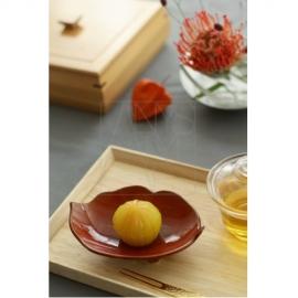 【清水焼】木の葉皿/柿色