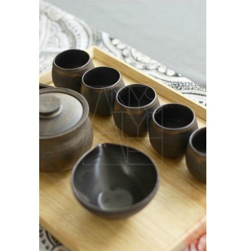【清水焼】煎茶揃え/いぶし