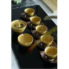 【清水焼】京焼煎茶揃え/黄