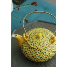【清水焼】黄交趾七宝石瓶