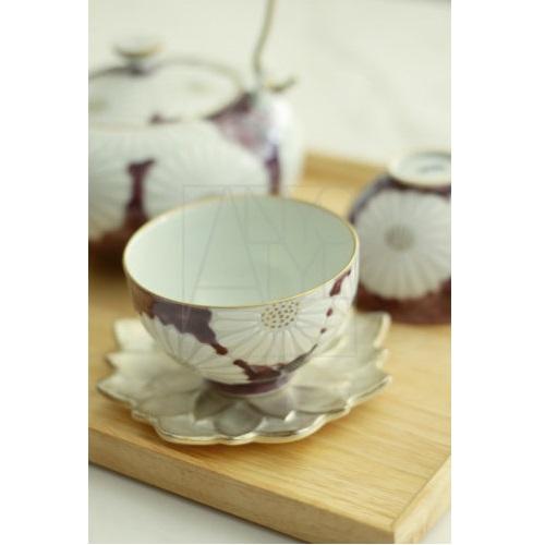 【清水焼】菊紫茶器5客セット