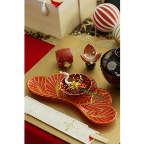 【有田焼】松葉型前菜皿 レッド