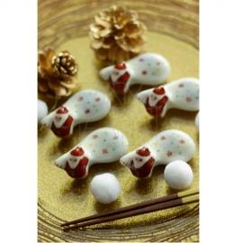 【清水焼】お箸置き5個セット/サンタクロース