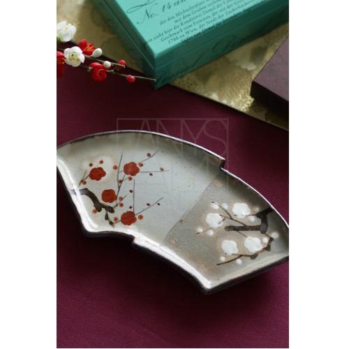 【清水焼】紅白梅 扇面皿
