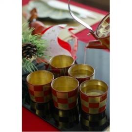 【清水焼】赤金市松 カップ5客セット