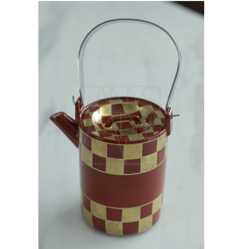【清水焼】赤金市松 石瓶