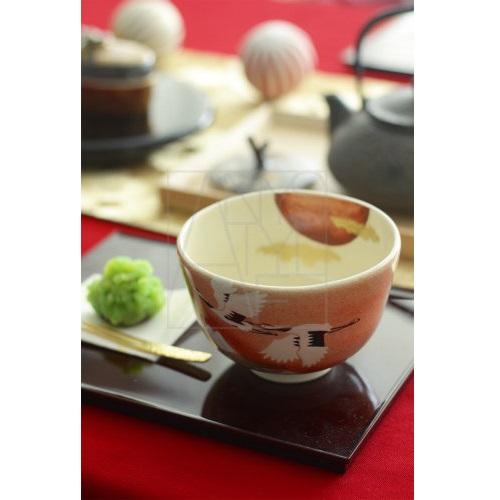 【清水焼】日の出鶴 抹茶椀
