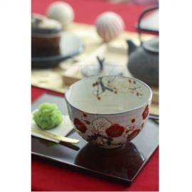 【清水焼】紅白梅 抹茶椀
