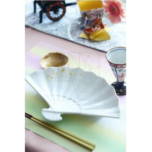金彩扇面皿