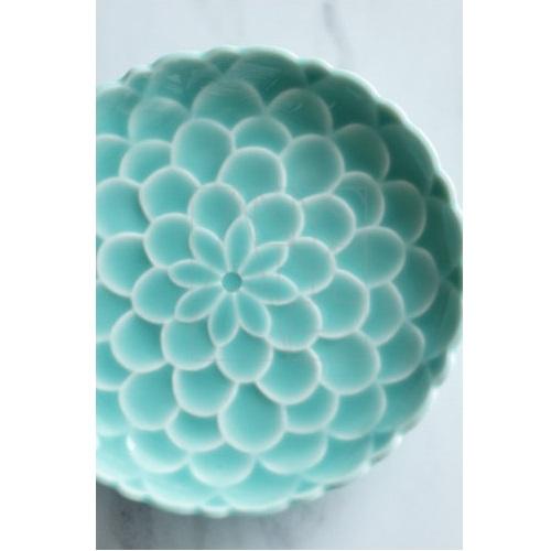 【清水焼】青釉花彫皿
