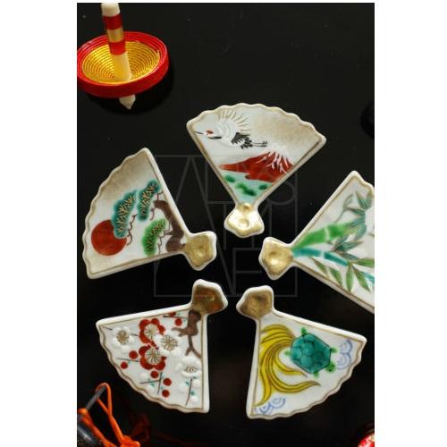 【清水焼】お箸置き5個セット/吉祥扇