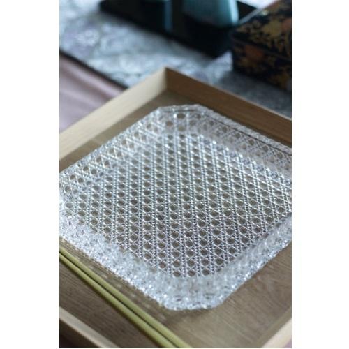 ガラス八寸皿/籠目