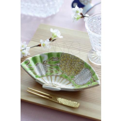 【清水焼】扇型菊絵小皿5色セット