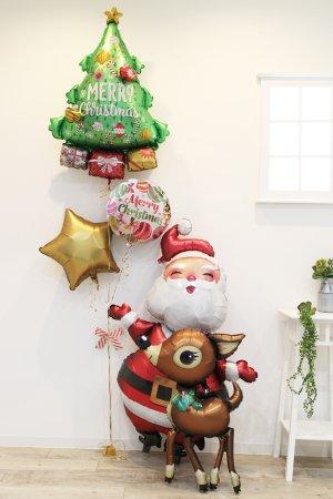 【バルーン】クリスマスサンタエアウォーカーブーケ