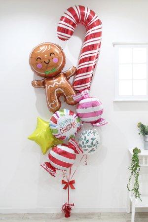 【バルーン】クリスマス キャンディケイン&ジンジャーブレッドマンブーケ
