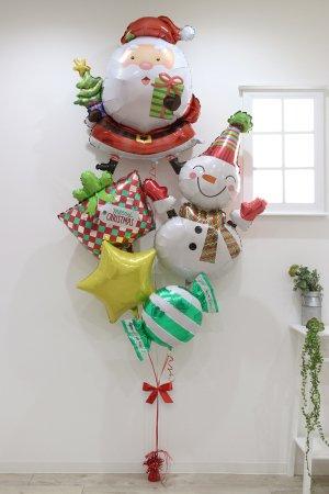 【バルーン】クリスマス サンタウィズツリースマイリースノーマンブーケ
