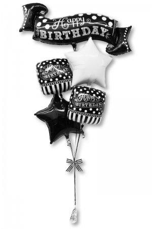 【バルーン】ブラック&ホワイトチョークボードバースデーブーケ