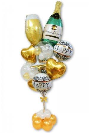 【バルーン】シャンパンボトル&グラスダマスクゴールドブーケ