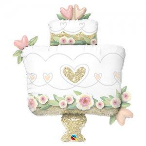 【バルーン】グリッターゴールドウェディングケーキ