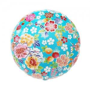 【バルーン】和柄 代紙 牡丹と桜 青