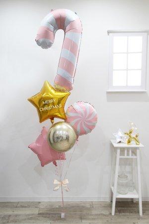 【バルーン】クリスマス ピンクキャンディケインブーケ