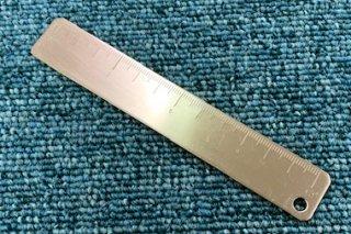 真鍮館文具 「12cm定規」 真鍮無垢(クリア加工済)