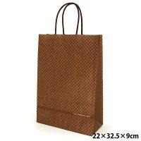 ギフトバッグ 紙袋 手提げ チェック柄 ブラウン 「THE PREMIUM GIFT」 サイズ:横22×縦32.5×マチ9cm