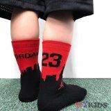 【JORDAN】 マンハッタン柄&2トーン靴下2足セット (約13-21cm) BK/RD