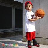 【JORDAN】バスケボール柄#23  Tシャツ上下2点セット (96-104cm) WH/RD