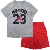 【JORDAN】アーチロゴ DRI-FIT Tシャツ上下2点セット (96-116cm) GY/RD