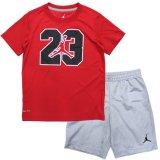 【JORDAN】バスケボール柄#23 DRI-FIT  Tシャツ上下2点セット  (96-104cm) RD/GY