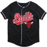 【UNK】シカゴ・ブルズ  筆記体ロゴ ベースボールシャツ (130-160cm) BK