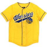 【UNK】ゴールデンステート・ウォリアーズ  筆記体ロゴ ベースボールシャツ (130-160cm) YL