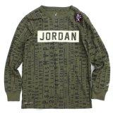 【JORDAN】 総柄BOXロゴ 長袖ロングスリーブTシャツ (158-170cm) OL