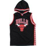 【NBAオフィシャル】ブルズ サイドライン フード付きゲームシャツ (130-160cm) BK/RD