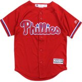 【Majestic】フィラデルフィア・フィリーズ ベースボールシャツ (130-160cm) RD